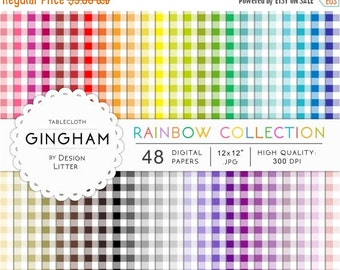 80% Until New Year - Gingham digital paper: 48 rainbow gingham picnic tablecloth and checkered backgrounds for scrapbooking · Instant downlo