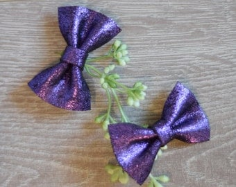 Purple Sparkle Piggy Pack, Leather Hair clips, Leather bow, Leather bow clips, Purple sparkle, Piggy Packs
