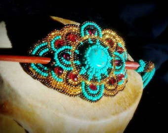 hand beaded barrette with stick