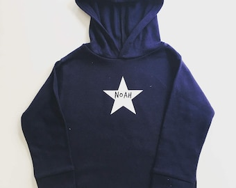 Personalised Name in a Star Cotton Hoodie - Baby / Child / Pink / Blue