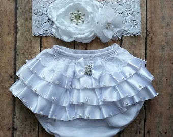 Baptism white bloomer set - baby bloomer - wedding baby bloomer - first birthday bloomer - newborn bloomer - baby shower gift - baptism bow