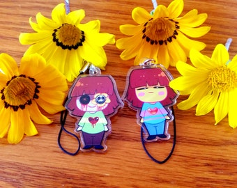 Undertale Frisk/Chara Double sided 1.5 phone charms