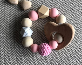 Hand Made Baby Natural Wooden Crochet Teether Teething Rattle Bracelet Gift