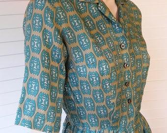 1940s silk shirt front dress