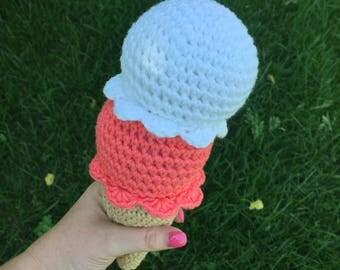 Double Scoop Ice Cream Cone, Plush Ice Cream, Crochet Ice Cream, Double Scoop Ice Cream, Ice Cream Toy, Baby Ice Cream, Pretend Food