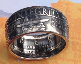 US Marshals Service 225th Anniversary Silver Dollar Coin Ring -- 90% Silver
