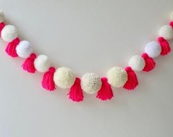 Yarn Pompom Tassel Garland // Baby Shower Decorations // Nursery Decor // Wall Art // Girls Bedroom Decor // Retail Merchandising // Pink