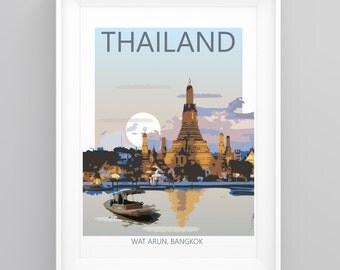 Vintage Travel Poster Wat Arun, Bangkok, Thailand- Temple. Handmade, A4 or A3 size, CUSTOMISABLE