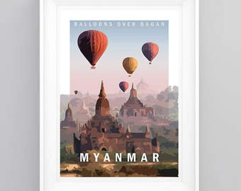 Vintage Travel Poster Bagan, Myanmar- Temple. Handmade, A4 or A3 size, CUSTOMISABLE