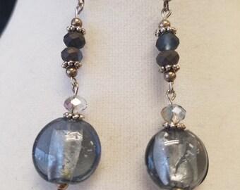 Steel Blue Drop Earrings