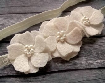 First communion hair accessory, White flower headband, Floral Christening Headband, White Elastic headband, First Communion Headpiece