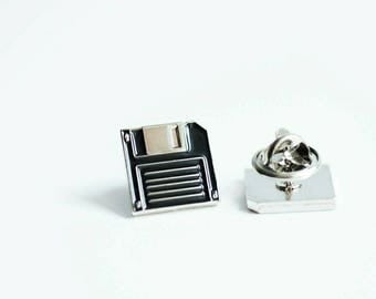 Floppy disk enamel pin - floppy disk lapel pin