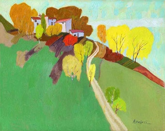 Print of Oil LANDSCAPE  art print, autumn landscape print, fine art prints, rectangular print, decorative painting print, fall painting