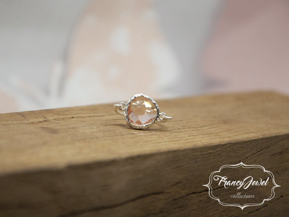 Soft pink ring, romantic ring, silver ring, transparent crystal, unique ring, handmade ring, silver, made in Italy, not tarnish jewelry