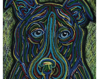 Original Dog Art / Dog Drawing, Pit Bull Dog Drawing by Heather Payer-Smith, original oil pastel drawing