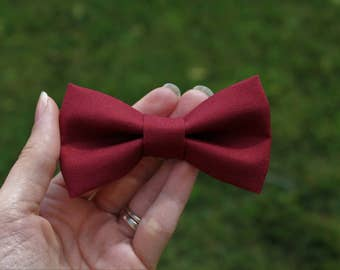 Burgundy clip-on bow tie, baby bow tie, toddler bow tie, boy bow tie, men's bow tie, crimson bow tie, maroon bow tie