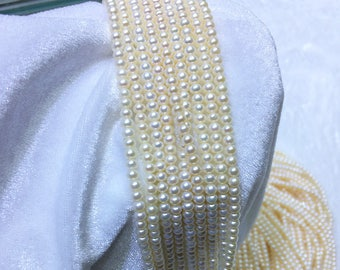 3.5-4mm Freshwater Cultured Pearl Strand, Small Bread Pearl Necklace, High Luster Loose Pearl Beads for Jewelry Making Wholesale