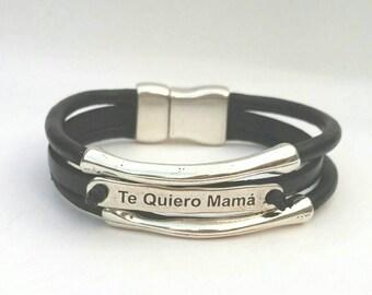 Leather breast bracelet, mother's Day, breast, leather mom Bracelet
