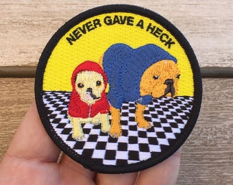 """Never Gave A Heck Embroidered Patch - French Bulldog Frenchie Hoodie Album Cover Puppy Dog - 3"""" Circle Fully Embroidered Sticker Patch"""