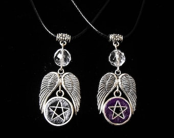 Pentagram Wings Pendant Cord Necklace