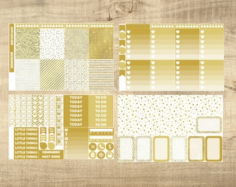 Gold & White Glitz 4 Page Weekly Kit for Erin Condren Vertical LifePlanner