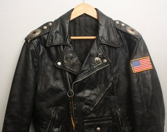 Vintage 1970's Worn Black Leather Motorcycle Jacket / Biker Jacket / Concho Detail / Patch Detail