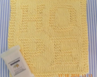 1  Hand Knit Wash Cloth Or Dish Cloth Yellow~ ~HOPE~~1.5 Oz. Almond Soap