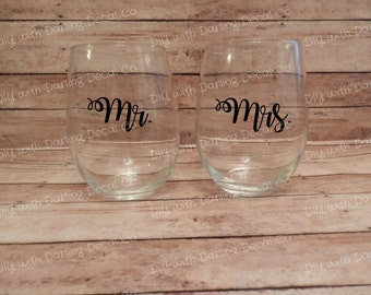 Mr. Mrs. Adhesive Decals Couples Mug Wine Tumbler DIY Set Partners Wedding Marriage Aniversary Gift Present Do It Yourself Budget Crafts