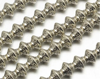 50pcs Antique Silver Bicone Spacer Beads Tibetan Style 7x6mm Hole 1.5mm