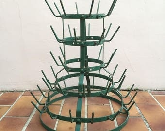 Vintage French Antique Wine Champagne Bottle Drying Wine Rack hanger green 7
