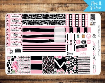 Mini H Black and Pink Weekly Planner Stickers {#49}