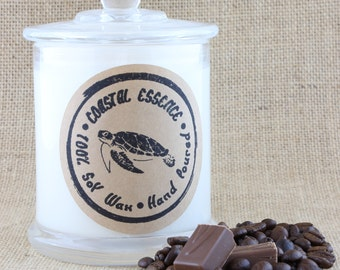 Fresh Coffee fragranced soy wax candle. This coastal essence candle will surround you with the rich aroma of freshly brewed coffee.