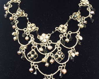 Diamonte and Pearl Delicate Plated Silver handcrafted Vintage Necklace