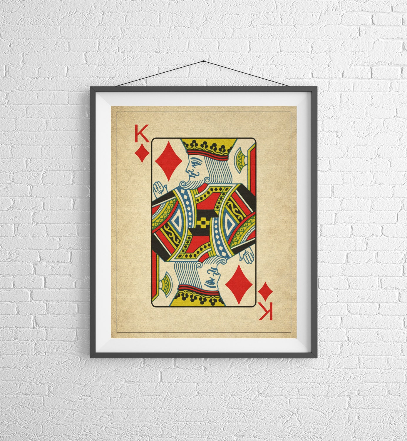 King of Diamonds, Playing Card Art, Game Room Decor, Game Room Art ...