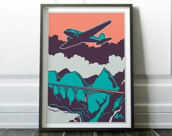Wall Art, Retro Print, Retro Plane Print, Poster, Aircraft Print, Retro Wall Art, Retro Poster, Wall Art Print, Aircraft Poster, Prints