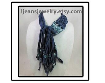 Shades of Blue Mokume Gane Polymer ClayPendant Necklace/Scarf