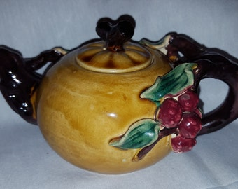 Vintage Majolica Teapot with grapes and vines