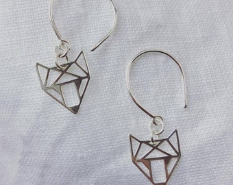 """Small hoop earrings with 925 Silver charms """"Fox"""""""