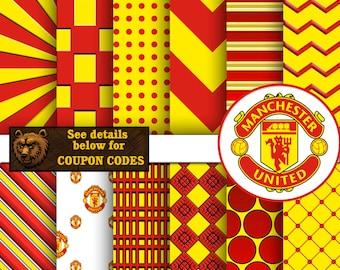 Manchester United, soccer, digital paper, download, background, scrapbook