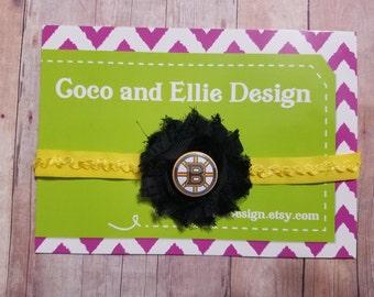 NHL boston bruins headband-bruins headband-boston bruins for girl-boston bruins baby gift-boston bruins hockey headband-bruins headband