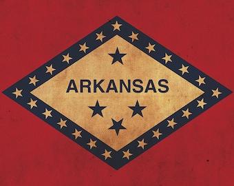 Vintage Arkansas Flag on Canvas, Arkansas, Wall Art, Arkansas, Photo,Arkansas print, Fine Art, Arkansas Flag Flag, Single or Multiple Panels