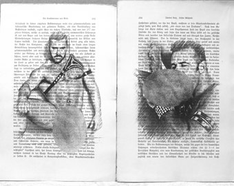 Erotic Gay poster 2 pages / Muscle man love / Printing Antique  German book  decor interior picture ART erotic