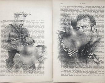 Gay erotic poster  /  muscular male love  / 2 pages Printing Antique  book  decor interior picture ART erotic souvenir