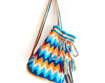 Wayuu Bag - Crochet Bag - Yarn Backpack - Wayuu Tribal Style Bag - Hippie Bag - Tribal Boho Bag - Boho Backpack - Artisan Woven Bag