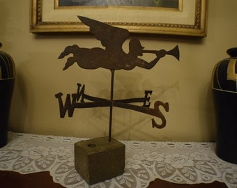 Antique 1800s Angel Gabriel Hand Cut Sheet Metal Gilted Weathervane Beautiful Patina Handmade