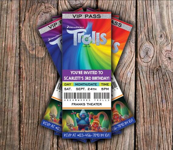DreamWorks Trolls - Birthday Invitation - Digital File