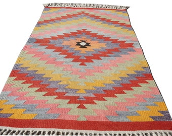 """Turkish  Vintage Small Kilim Rug,Hand Made  Area Rug,Kilim,Carpet Rug ,Turkish Kilim Rug ,Diamond Kelim 30"""" x 58"""" inches -  76 x 147 cm"""