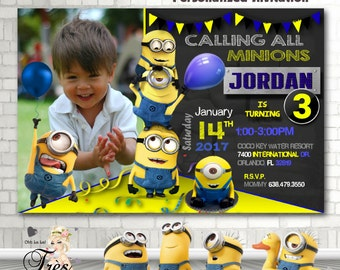 Minion Invitation,Minion Birthday Invitation,Minion Birthday Party Invitations,Minions,1st Birthday,2nd Birthday,3rd Birthday,Minions