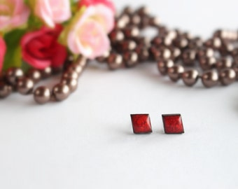 Red Ceramic Earrings, Red Pane Earrings, Red Pane Earrings, Ceramic Stud Earrings, Ceramic Jewelry, Polish Ceramics