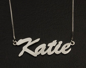 Font Name Necklace, Cursive Necklace, Personalized Name Necklace, Custom Name on Necklace, Sterling Silver Necklace, Nmae Jewelry, Good Gift